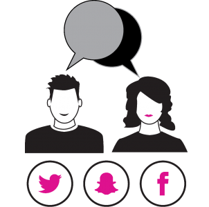 Social media clip art depicting the busts of a man and woman next to each other with two corresponding dialog bubbles over their heads. Below the man and woman, there are icons for Twitter, Snapchat and Facebook.