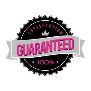 "A clip art seal that says ""Satisfaction Guaranteed 100%"". The background of the seal is black and the wording is in pink. ""Guaranteed"" is written largely in a grey banner across the middle of the seal. There is a small grey crown above the banner."