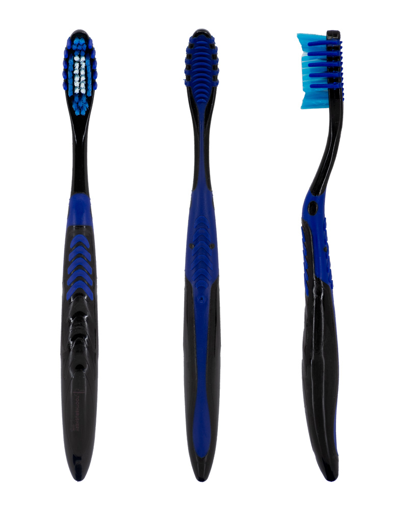 "Front, back and side profile views of the blue and black ""Selfie Pro"" manual toothbrush from Toothbrushery.com. The brush handle is black with a blue grip and tongue scraper on the back. The bristles are white and blue, surrounded by five rubber bristles on each side."