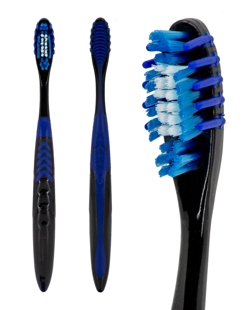 "Full front view, full side view and closeup on brush head of the blue and black ""Selfie Pro"" manual toothbrush from Toothbrushery.com. The brush handle is black with a blue grip and tongue scraper on the back. The bristles are white and blue, surrounded by five rubber bristles on each side."