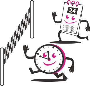 Clip art of a calendar character and a clock character racing each other towards a finish line. The image is mostly in black and white, with some pink accenting.