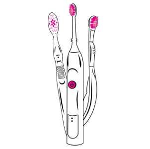Clip art in of three electronic toothbrushes. The colors are mostly white, black outlining and pink for the bristles and power switches.