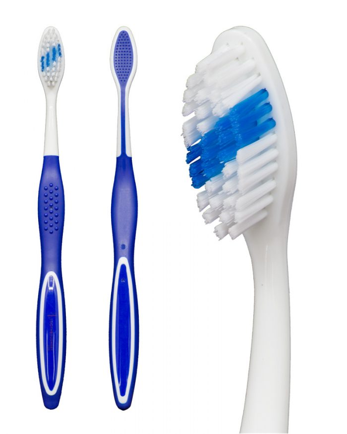 "Full front view, full side view and closeup on brush head of the blue ""Selfie"" Standard manual toothbrush from Toothbrushery.com. The brush handle is white with a blue grip on the back. The bristles are white and blue, with the blue portion being a diagonal stripe across the middle of the bristles."