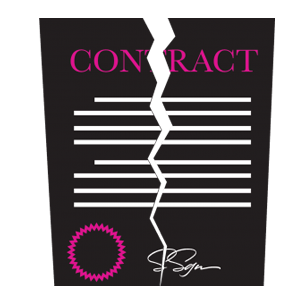 "Clip art of a contract being torn in two. The contract paper is black with white lettering, with ""CONTRACT"" written in pink along the top, a pink seal and a white signature at the bottom."