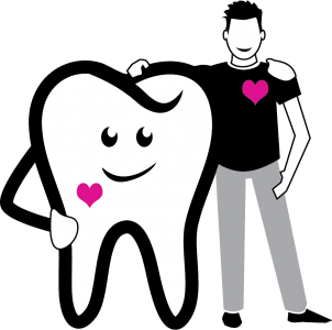 Clip art of a giant tooth with eyes and a mouth and a man standing next to each other, with arms over each other's shoulders. Both the giant tooth man and the other man have pink hearts on their chests to symbolize good dental health and Toothbrushery.com's toothbrush head subscription service.